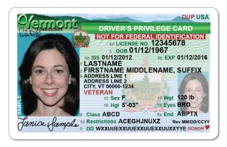 Photo courtesy of Vermont Department of Motor Vehicles
